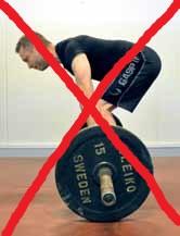 Forkerte dødløft l: Undgå strakte knæ og en krumning i lænden.